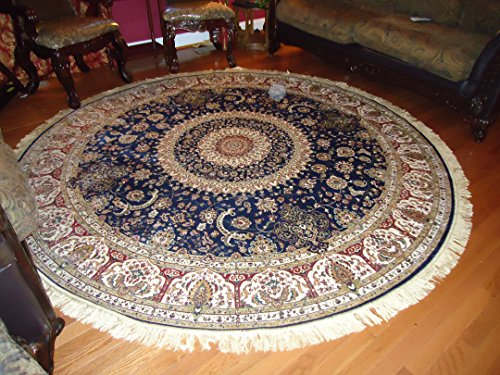 Luxury Large Round Rugs Silk Traditional Area Rugs Navy Circle Rugs Persian Area Rugs 8x8 Circle Rug Living Room Round Shape Rugs Silk Low Pile Rug 8' Round Wool Rug
