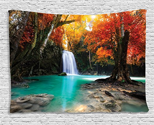 Autumn Waterfall - Ambesonne Natural Waterfall Decor Collection, Deep Forest Waterfall Runoff Autumn Forest , Bedroom Living Room Dorm Wall Hanging Tapestry, 60W X 40L Inch
