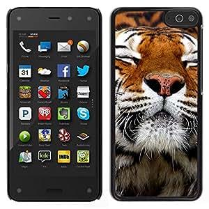 Caucho caso de Shell duro de la cubierta de accesorios de protección BY RAYDREAMMM - Amazon Fire Phone - Feliz piel del tigre animal anaranjada linda