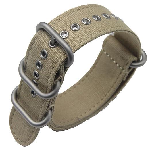 d7000dddd96a4 22mm color caqui Premium Deluxe estilo de la NATO robusto exótica tela suave  tipo Reloj pulsera de los hombres del deporte  Amazon.es  Relojes
