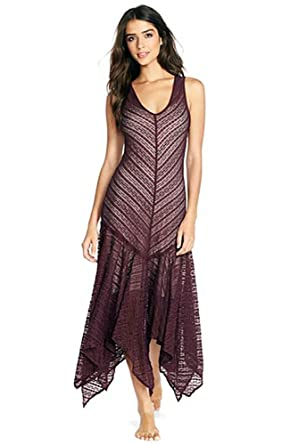Free People Womens Lila Asymmetrical Sheer Lace Slip Dress (XS, Eggplant)