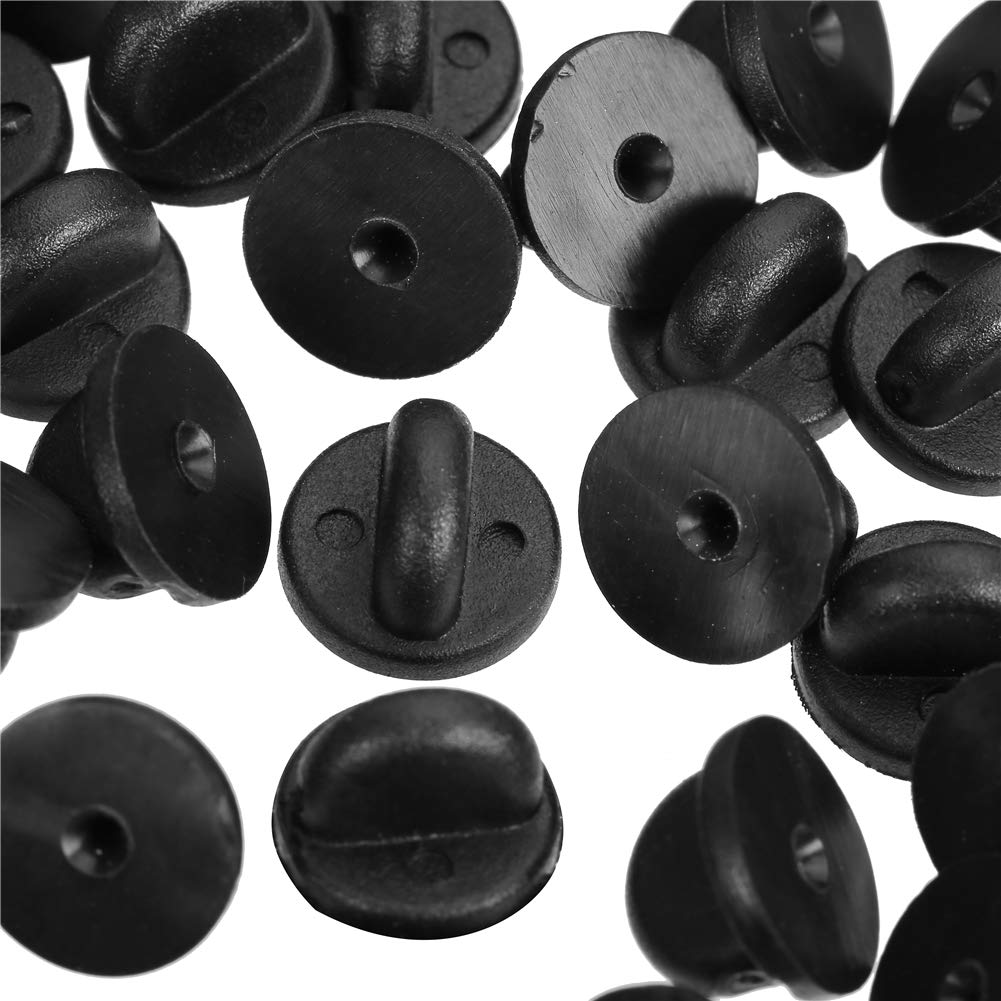 Black CCINEE PVC Rubber Pin Backs 100