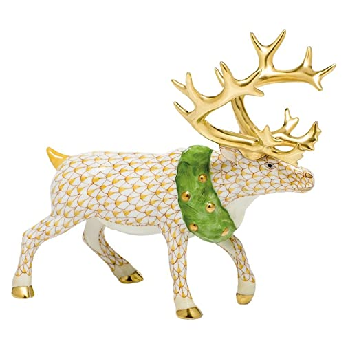 Christmas Tablescape Decor - Herend Collection Butterscotch Fishnet Christmas Reindeer Figurine