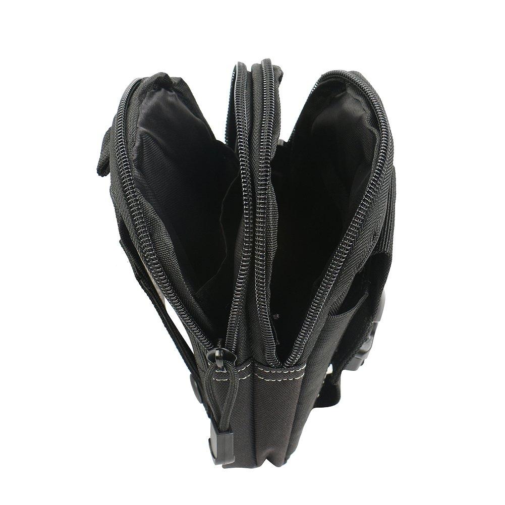K-S-Trade pour Olympus TG-Tracker Sacoche Ceinture Pouchette /Étui Cam/éra Digital Sac Portable Housse Protection Couvercle Noir Compartiments Sup Noir 1x