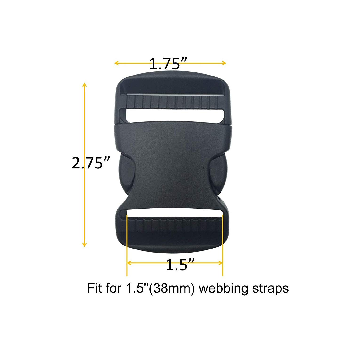 Luckycivia 30 Pack 1.5 Inch Flat Side Quick Release Plastic Buckles and Tri-Glide Slides Adjustment Clips Flat Heavy Duty Dual Adjustable Buckles for Luggage Straps Pet Collar Backpack Repairing