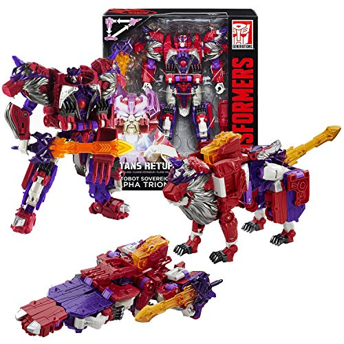- Transformers Year 2015 Generations Titans Return Voyager Class 7 Inch Tall Figure - AUTOBOT SOVEREIGN and ALPHA TRION with Sword and Card (Alt Mode: Jet and Lion)