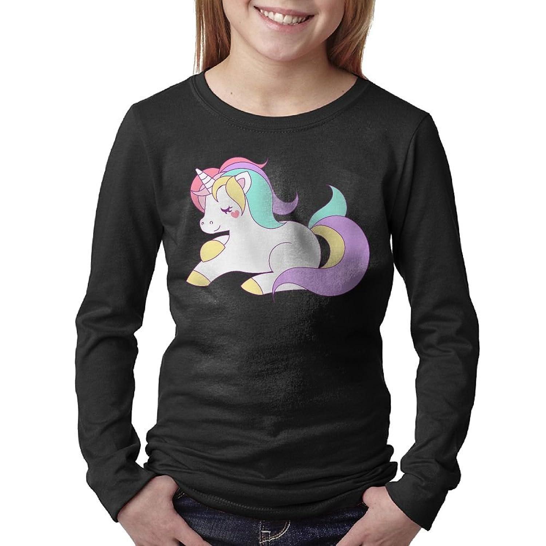 Wholesale Cuihualili Pink Rainbow Unicorn Cartoon Colourful Unisex Boys&Girls Long Sleeve Crew Neck Shirt hot sale