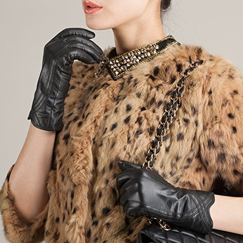 Nappaglo Nappa Leather Gloves Warm Lining Winter Handmade Curve Imported Leather Lambskin Gloves for Women (XL, Black) by Nappaglo (Image #3)