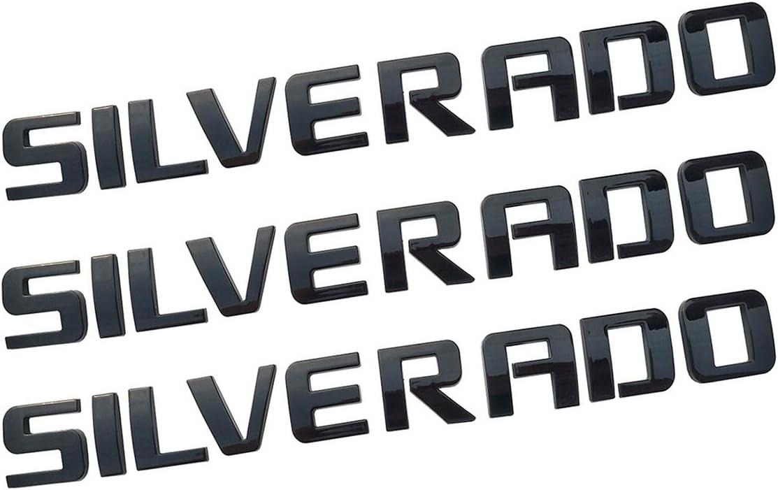 Yuauto 3Pcs Glossy Silverado Nameplate Letter Car Emblem 3D Badge Emblem Replacement for Silverado 1500 2500HD 3500HD Original Chevrolet Silverado