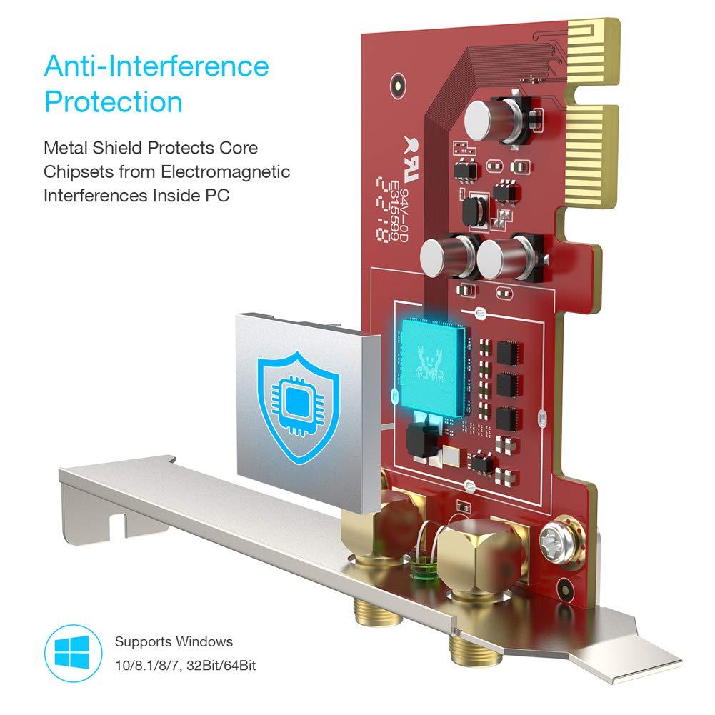 BrosTrend 1200Mbps Tarjeta WiFi PCI Express, Banda Dual 5GHz 867Mbps, 2.4GHz 300Mbps, 2 X 5dBi Antena Base magnética, Excelente para juegos de red ...
