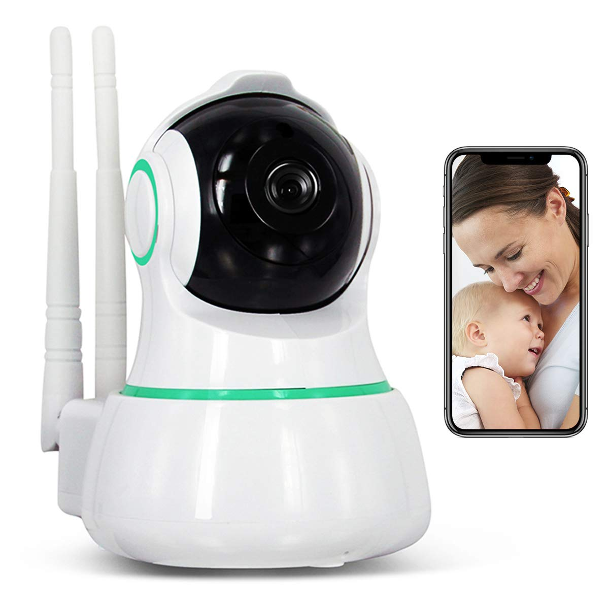 Vacam Wireless IP Security Camera HD 1080P Baby Care WiFi Remote Panorama 360 Degree Viewer Home Surveillance System for Pet Baby with Pan Tilt Two-Way Audio Night Vision