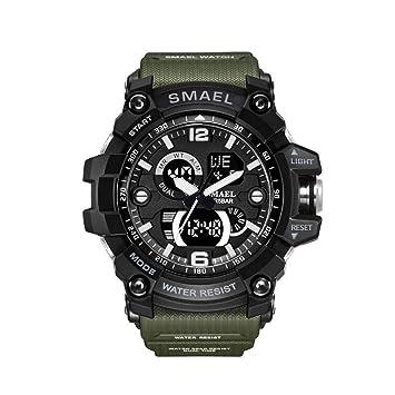 Zz max Reloj Deportivo Reloj Digital a Prueba de Agua Luminoso Excursión al Aire Libre Senderismo Natación con Reloj Despertador Correa Verde para Hombres: ...
