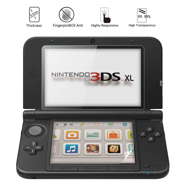 OOTSR (2 Juegos) Protector de Pantalla Compatible con Nintendo 3DS XL y Nuevo 3DS XL, Incluye 2 Protector de Vidrio + 2 película Protectora LCD