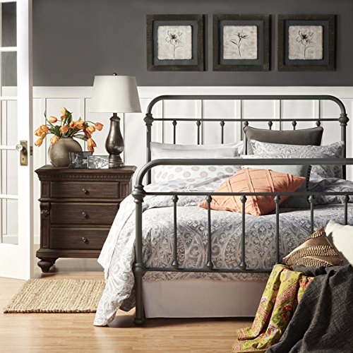 Full Size Victorian Bed (Giselle Dark Gray Graceful Lines Victorian Iron Metal Bed - FULL Size)