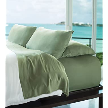 Cariloha Resort Bamboo Sheets 4 Piece Bed Sheet Set - Luxurious Sateen Weave - 100% Viscose from Bamboo Bedding (Cribbean Mint, Queen)