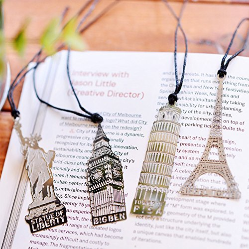 Metal Bookmark with Leather String,Retro Building Design, 4 PCS