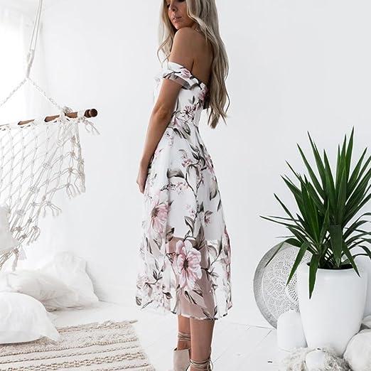66141f54a31a94 Cooljun Damen Sommer kleid off Schulter Floral bedruckt lange Maxi kleider  Dress Frau Blumendruck Kleid Partykleid (L, Mehrfarbig): Amazon.de: Baby