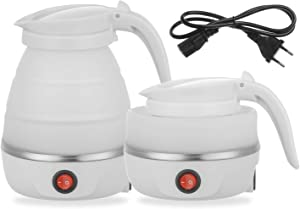Foldable Portable Kettle | Travel Kettle - Upgraded Food Grade Silicone, 5 Mins Heater To Quickly Foldable Electric Kettle, White 600ML 110V US Plug