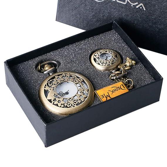 Regalo para niños Alicia en el país Maravilloso Reloj de Bolsillo Hueco Conejo Clave de Regalo