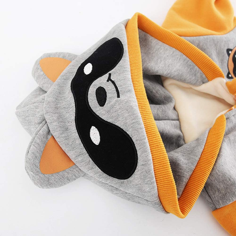 FCQNY Thicken Jumpsuit Cartoon Raccoon Print Cotton Romper for Toddlers Orange