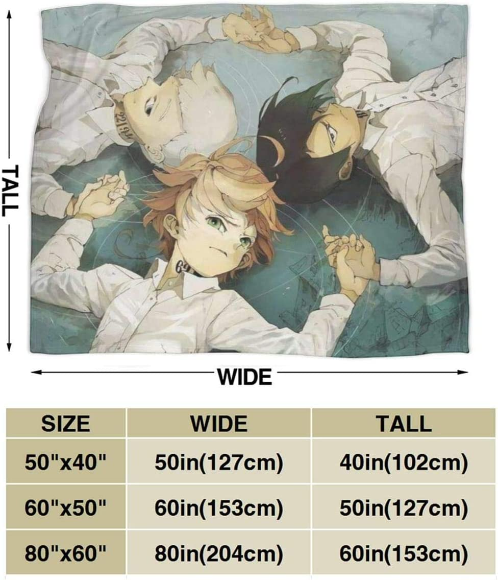Engshi Couvertures et Plaids The Promised Neverland Anime Warm Soft Novelty Ultra-Soft Micro Fleece Throw Blanket for Living Room//Bedroom 50x40