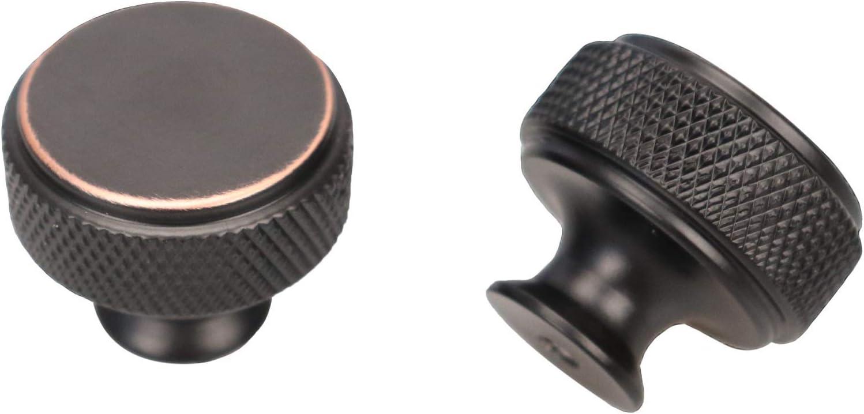 Knurling Kitchen Cabinet Knobs, Round Desk Drawer Handles, Kitchen Hardware Pulls(30 millimeters)- Pack of 10 (10, L-Diameter:30mm-Oil Rubbed Bronze)