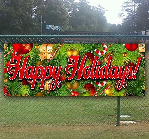 Happy Holidays 4 13 oz Heavy Duty Vinyl Banner with 4 Grommets (Banner Happy Holidays)