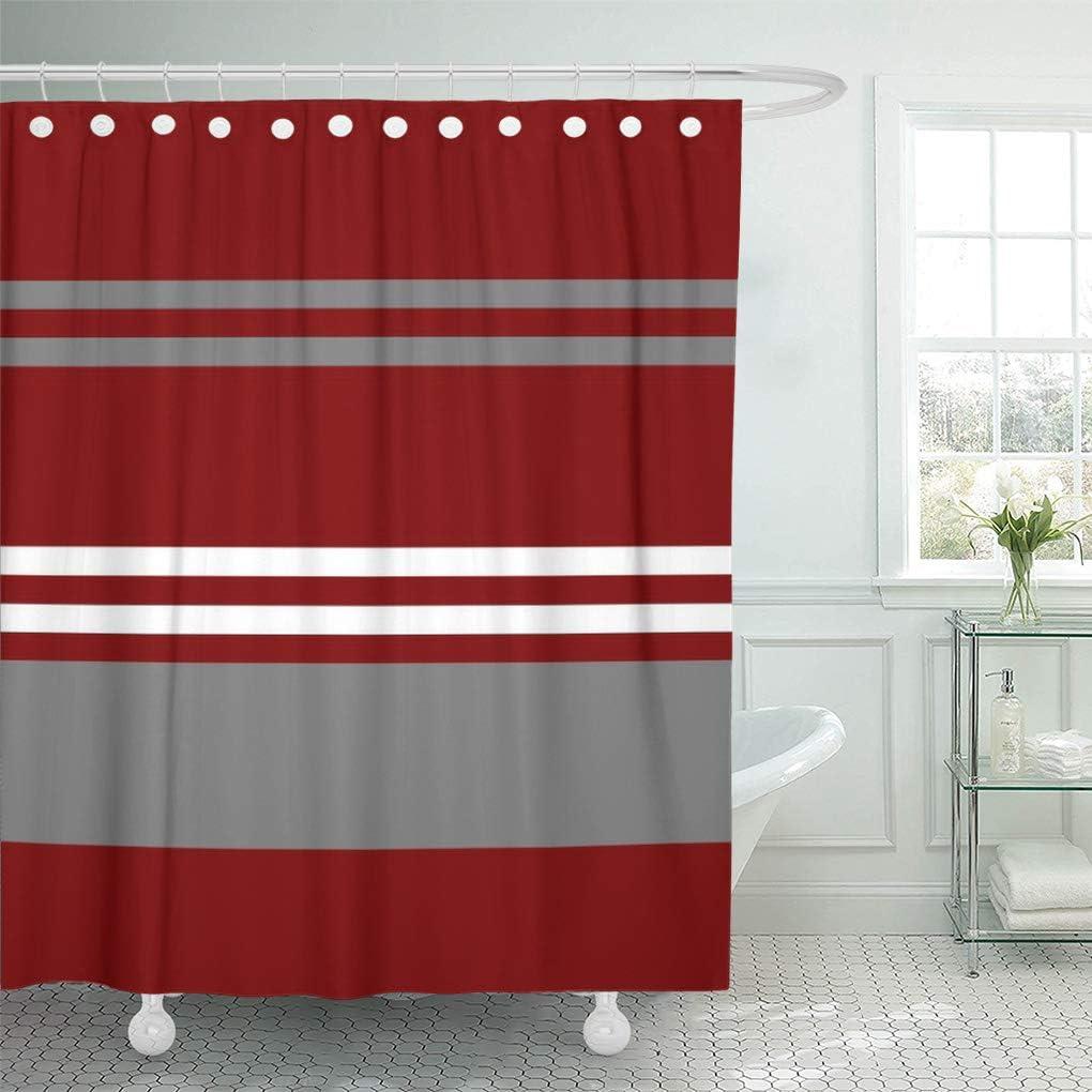 "Semtomn Shower Curtain Crimson Red Grey and White Brick 72""x78"" Home Decor Waterproof Bath Bathroom Curtains Set with Hooks"