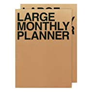JSTORY Large Personal Customizable Simple Academic Monthly Planner X2 One Size Kraft