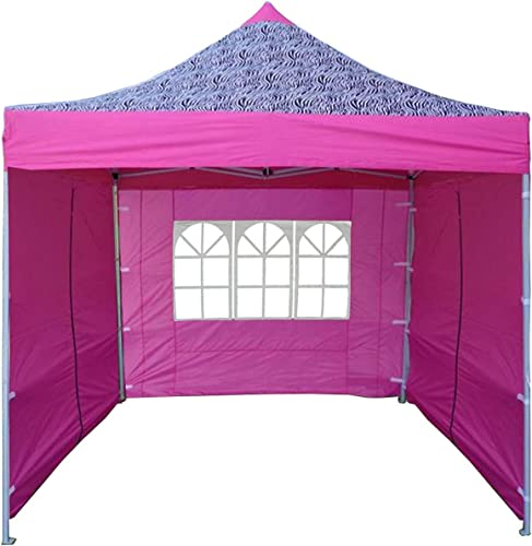 DELTA Canopies 10 x10 Ez Pop up Canopy Party Tent Instant Gazebo 100 Waterproof Top with 4 Removable Pink Zebra – E Model