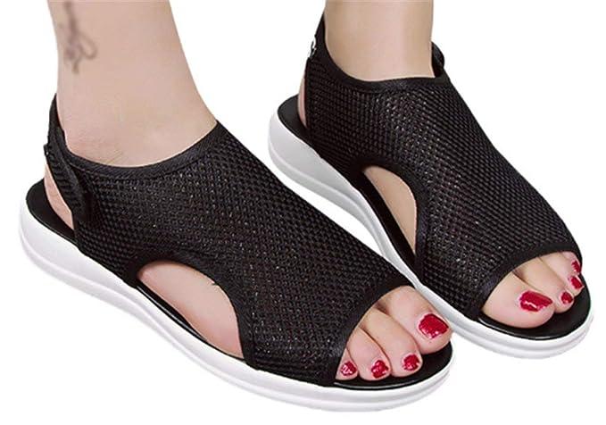 ed60791d2036c Amazon.com: Flat Wedge Sandals Woens Light Weight Slip On Sandals ...