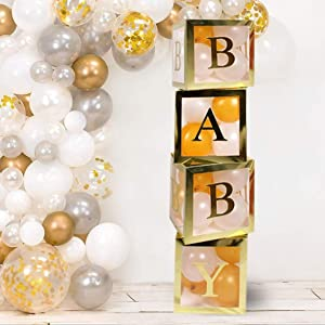 Gold Neutral Baby Shower Decorations for Boy and Girl - 52pcs Jumbo Transparent Baby Block Balloon Box. Includes Gold White Pink and Blue Balloons | Perfect for Gender Reveal Party Supplies, 1st Birthday Decor, Maternity Photos