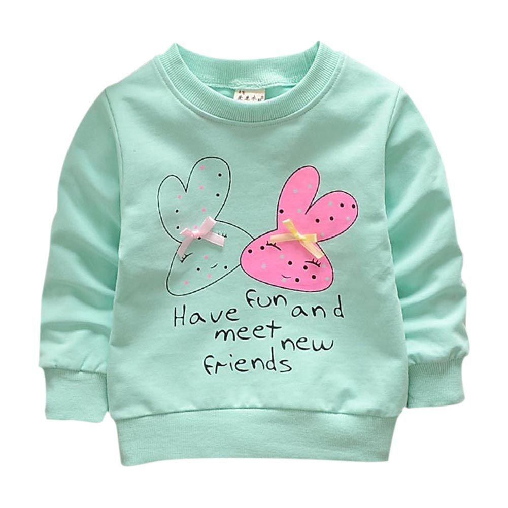 Qlan Newborn Infant Baby Girls Long Sleeve Pullover Sweatshirt Cartoon Tops Round Neck Jacket(0-3 Years)