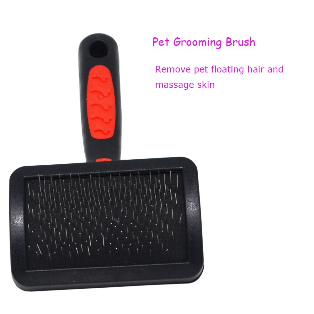 AOAMEET 4 pcs Pet Grooming Tool Kit (Fine-tooth Comb,Pet Grooming Brush, Pet Nail Clippers, File) for Dog Cat by AOAMEET (Image #2)