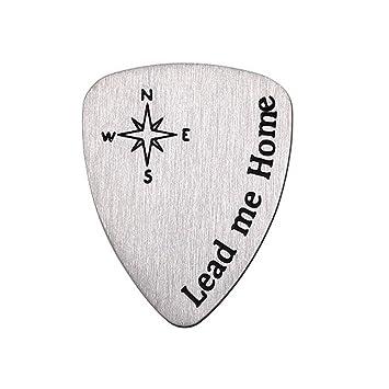 Rocita Púas Guitarra de metal titanio,Plectro de Guitarra eléctrica y bajo banjos metal de Alta Calidad con letra Lead Me Home 2pcs: Amazon.es: Instrumentos ...