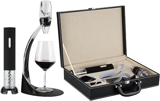 Compra Floureon Set Herramientas para Vino con Estuche Cuero (Aireador de Vino, Sacacorchos Eléctrico, Soporte de Corte, Tapón de Vino, Bomba de Vacío, Juego de Accesorios) en Amazon.es