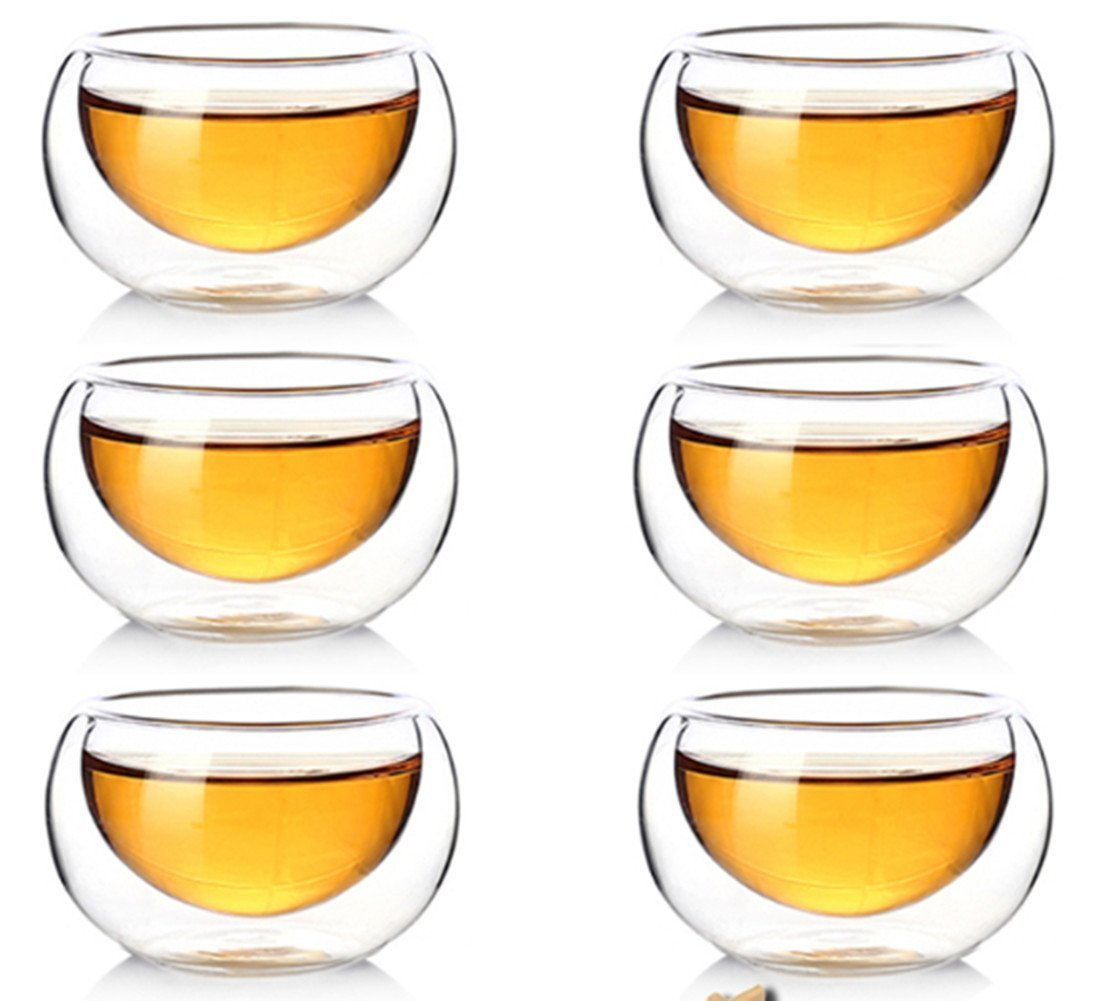 Clear Double Walled Glass Coffee Cups Insulated Glass Tea Cup Heat Resistant Double Layer Tea Cup 50ml Set of 10 FGF-EU