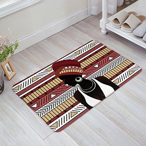 Indoor Outdoor Doormat African Women Geometric Figure Theme Tribal Style Floor Mat Entrance Mats Rugs Non-slip Doormats for Home Office Bedroom Kitchen Floor Decor