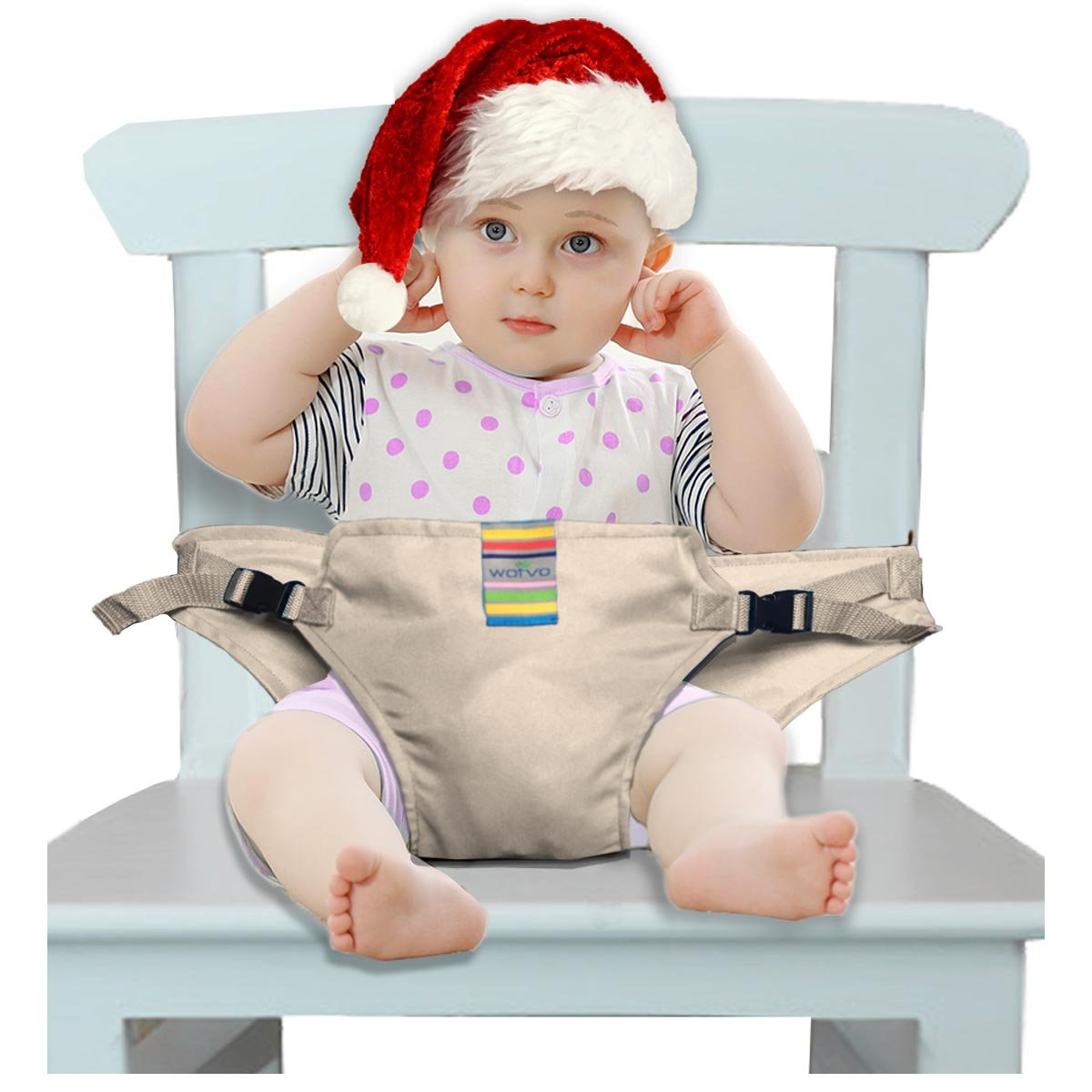 The Washable Portable Travel High Chair Booster Baby Seat with straps Toddler Safety Harness Baby feeding the strap (6 Color) (Khaki) Hangzhou Wo yu Trading Co. Ltd zyd-01A