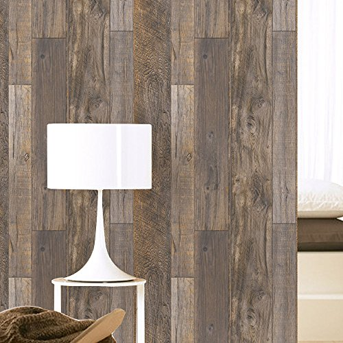 HaokHome 5005 Distressed Faux Wood Plank Wallpaper Rolls Brown/Tan Barnwood Wallpaper Murals Home Kitchen Bathroom Decoration 20.8