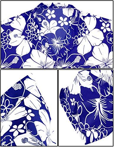 LA LEELA Florale imprimée Funky Chemise Hawaienne Homme avec Boutons Manches Courtes Shirt de Plage d'été Bleu_W300 XL