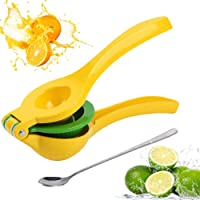 Lemon Squeezer, New Premium Quality Metal Lime Squeezer Manual Citrus Press Juicer 2-in-1 with Long Handle Spoon by Briout
