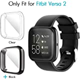 iCoold [2 Pack] Screen Protector Case Design for Fitbit Versa 2,Ultra Slim Soft TPU Full Cover Case All-Around Protective Plated Bumper Shell[Scratch-Proof] for Fitbit Versa 2 (Clear,Black)