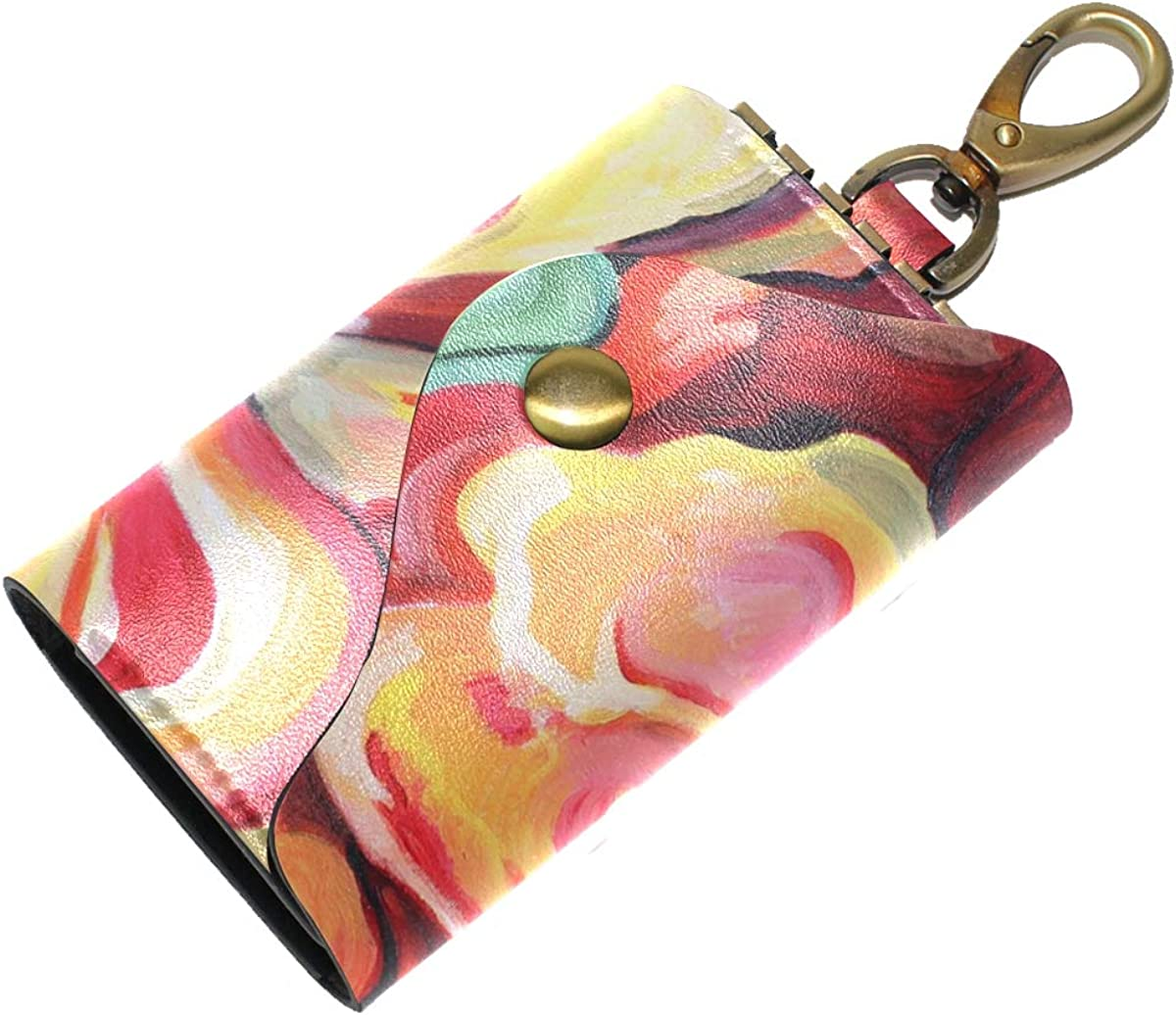 KEAKIA Painting Flower Leather Key Case Wallets Tri-fold Key Holder Keychains with 6 Hooks 2 Slot Snap Closure for Men Women