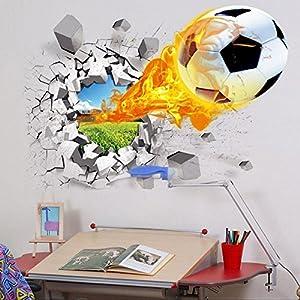 BestOfferBuy 3D Realistisch Fußball Geknackte Wand Effekt DIY PVC Wandbild...