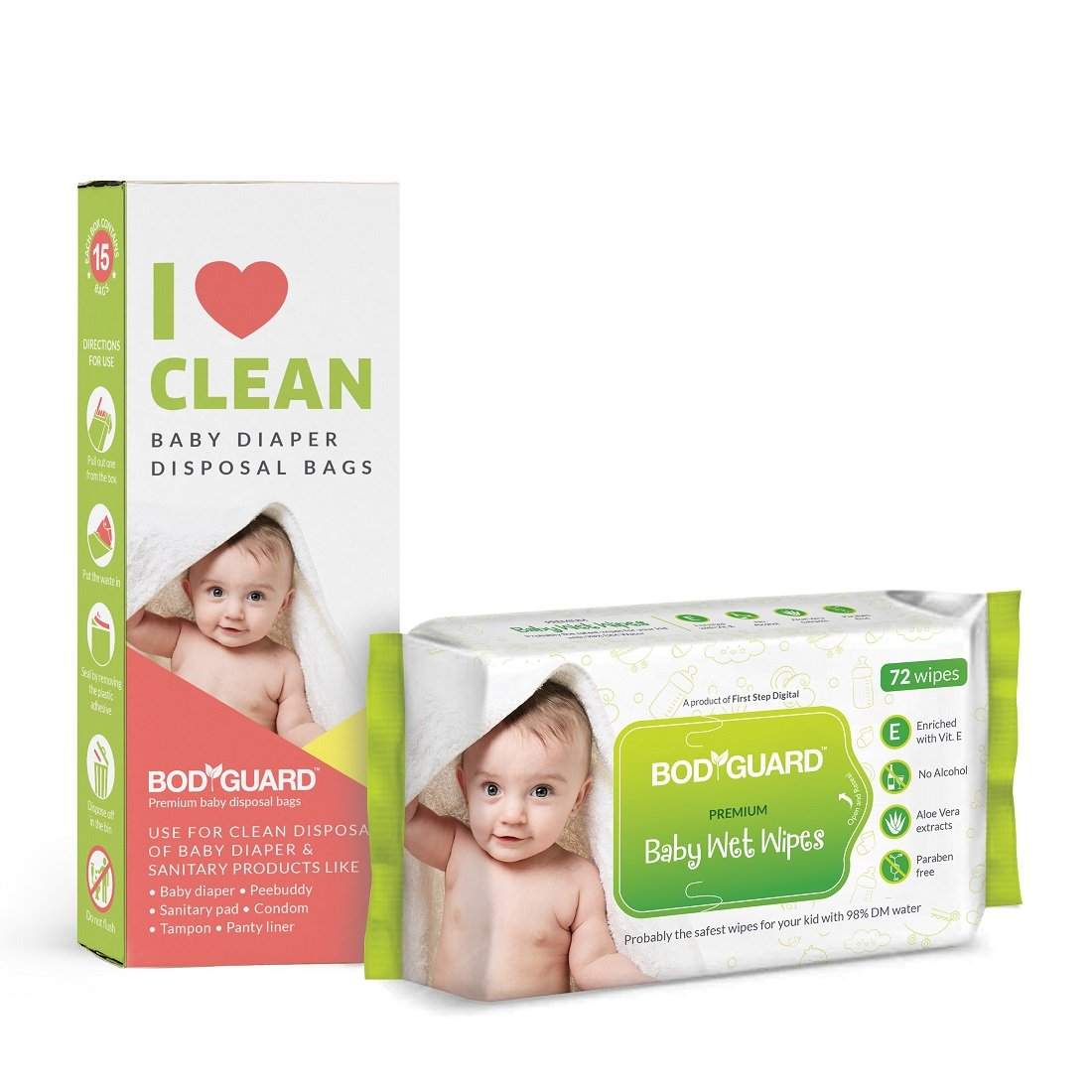 Bodyguard Baby Wet Wipes - 72 Pieces with Baby Diaper Disposal Bags - 15 Pieces