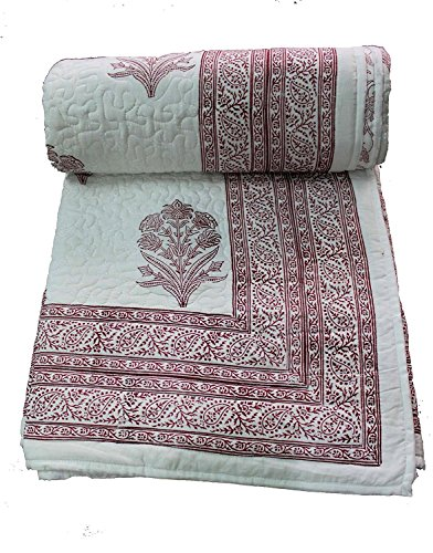 "Mango Gifts 100% Cotton Queen Size Paisley Hand-Block Print Reversible Quilt 90"" x 108"" Indian Razai"