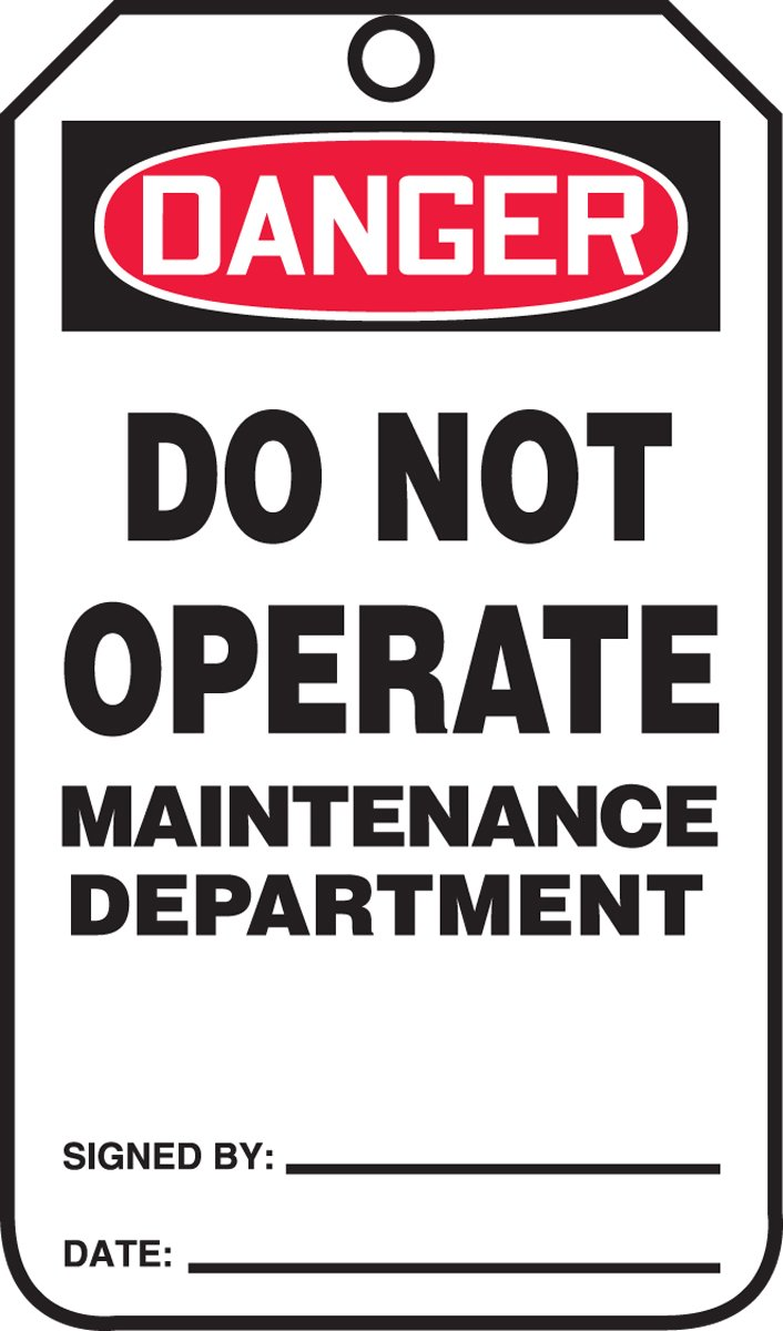 LegendDanger Do Not Operate Maintenance Department Red//Black on White 5.75 Length x 3.25 Width x 0.015 Thickness Pack of 5 Accuform MDT206PTM RP-Plastic Safety Tag