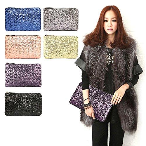 Museya Fashion Sparkling Bling Bling Sequins Style Women''s Ladies PU Handbag Cosmetic Bag Dinner Bag (Golden)