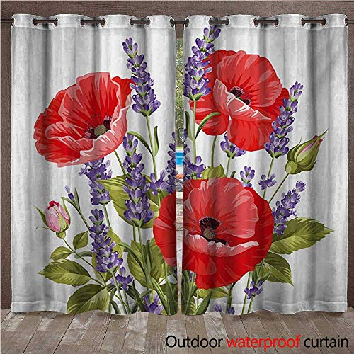 WilliamsDecor Lavender Outdoor Curtains for Patio Sheer Bunch of Lavender and Poppy Flowers Fresh Rustic Botanical Bouquet W84 x L84(214cm x 214cm)